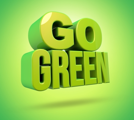 Green 3d render on green background