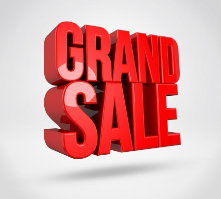 grand sale: 3d render text on isolated background
