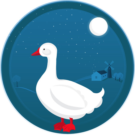 Farm Goose Vector illustration at night landscape. Flat style concept Moonlight scene with House and Windmill.