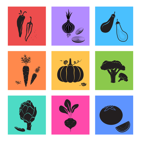 Vegetables vegetarian icons. Beet, chili pepper, eggplant, artichoke, pumpkin, carrot, tomato, onion, broccoli