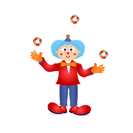 Colorful clown circus costume cartoon detailed character Illustration juggling with rings