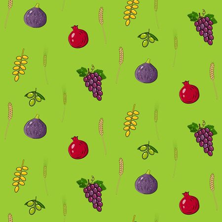 Shavuot holiday seamless pattern background with seven traditional species. Happy Shavuot in Hebrew