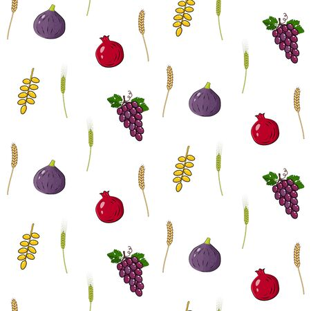 Shavuot Jewish holiday seamless pattern background with seven traditional species.