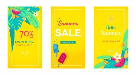 Set di banner di vendita sfondo tropicale, modello di social media, vendita estiva può utilizzare per, sito Web, app mobile, poster, volantino, coupon, carta regalo, modello di smartphone, web design Vettoriali