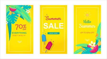 Set verkoop banner tropische achtergrond, sociale media sjabloon, zomer verkoop kan gebruiken voor, website, mobiele app, poster, flyer, coupon, cadeaubon, smartphone sjabloon, webdesign Vector Illustratie