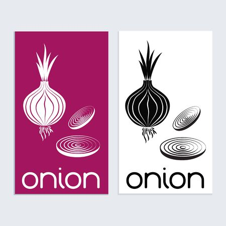 Onion logo icon sign tamplat. Red onion silouhette