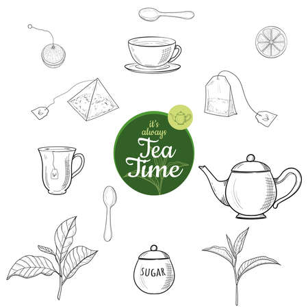 Green and black tea hand drawn ink sketch outline vector set isolated. Kettle, leaves, mag, sugar bowl, spoon, tea bag, lemon slice, strainer. Illustration for cafe, restaurant menu, web and print. Ilustrace