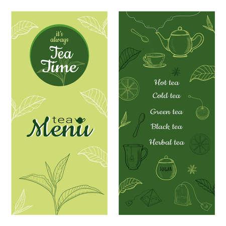 Set of tea vintage banners. Hand drawn sketch illustrations.