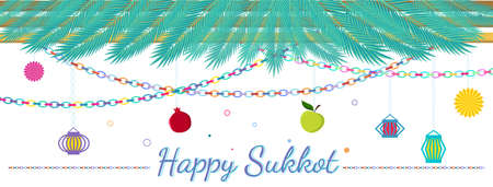 Traditional Sukkah for the Jewish Holiday Sukkot Vector illustration. Happy sukkot in Hebrew.