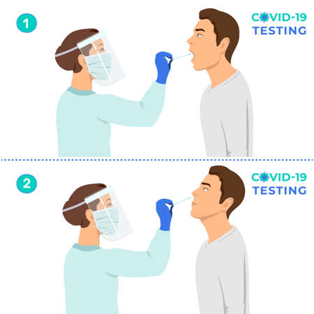 Coronavirus testing carried out by a medical professional , doctor or nurse. Patient receiving a Corona test. 向量圖像