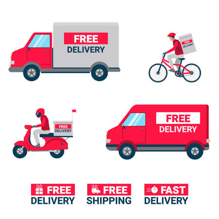 Delivery services concept, food or product order express delivery concept. Warehouse, truck, scooter and bicycle courier
