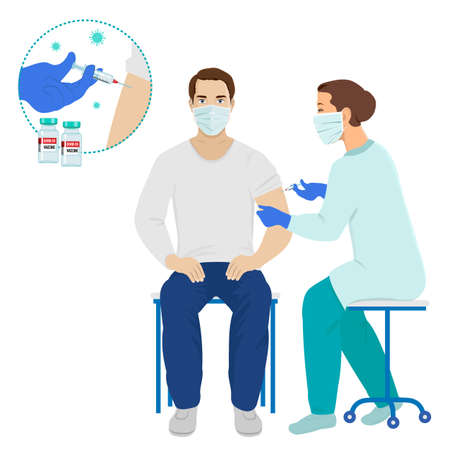 Coronavirus vaccination, doctor or nurse in protective medical mask injecting a patient vector
