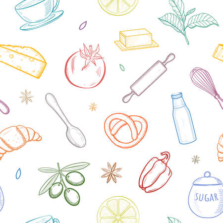 Seamless pattern with kitchen hand drawn sketch utensils. For wallpaper, pattern fills, textile, web page background, surface textures. Colorful Vector illustration.