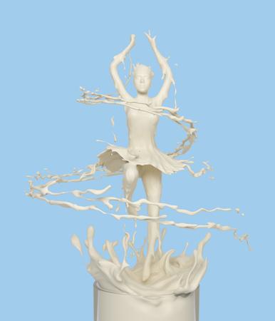 Liquid splash of white milk cream yogurt in woman or girl dancing ballerina form, isolated on background, design concept, 3d rendering illustration.