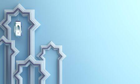 Arabic window paper cut, hanging lamp on blue pastel background. Design creative concept of islamic celebration day ramadan kareem or eid al fitr adha, hajj, hijri, mawlid, muharram. 3D illustration.