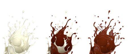 Collection various set of milk cream, chocolate splash liquid, isolated on white background. 3D rendering illustration.