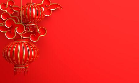 Rode en gouden traditionele Chinese lantaarns lampion en papier gesneden wolk. Ontwerp creatief concept van Chinese festivalviering. 3D-rendering illustratie.