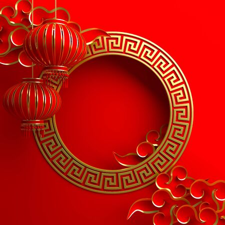 Red and gold traditional Chinese lanterns lampion, round border frame greek key and paper cut cloud. Design creative concept of chinese festival celebration. 3D rendering illustration.