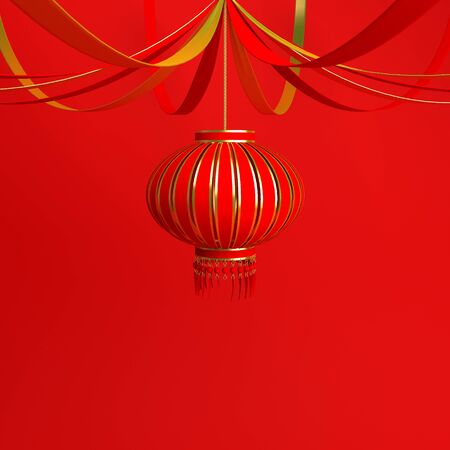 Red and gold chinese lantern lampion and ribbon. Design creative concept of chinese festival celebration gong xi fa cai. 3D rendering illustration. Stock Photo