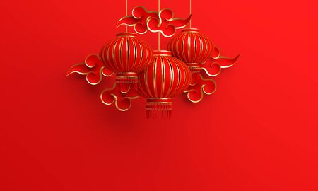 Red and gold traditional Chinese lanterns lampion and paper cut cloud. Design creative concept of chinese festival celebration gong xi fa cai. 3D rendering illustration. Stock Photo