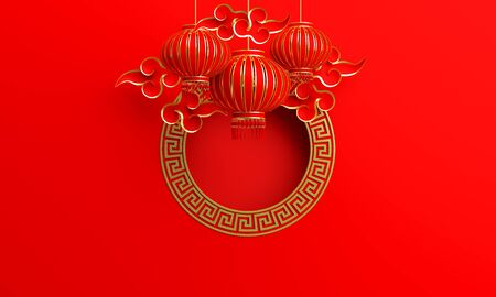 Red and gold traditional Chinese lanterns lampion, round border frame greek key and paper cut cloud.