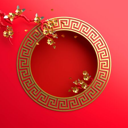 Red gold sakura flower and branch, cherry blossom, chinese lantern, round border frame greek key. Design creative concept of chinese festival celebration gong xi fa cai. 3D rendering illustration.