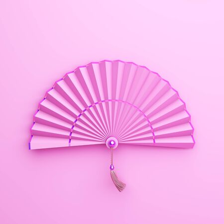Pink pastel chinese paper fan. Design creative concept of chinese festival celebration gong xi fa cai. 3D rendering illustration.