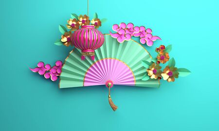 Traditional Chinese lanterns lampion, paper cut cloud, sakura, cherry blossom, paper fan on blue pastel background. Design concept of chinese festival celebration gong xi fa cai. 3D illustration.