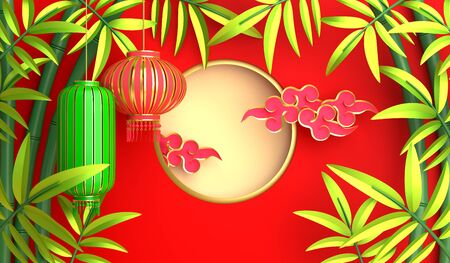 Green bamboo, traditional Chinese lanterns lampion, moon and paper cut cloud. Design creative concept of chinese festival celebration mid autumn, gong xi fa cai. 3D rendering illustration. Stock Photo