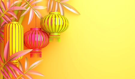 Yellow bamboo, traditional Chinese lanterns lampion, copy space text. Design creative concept of chinese festival celebration mid autumn, gong xi fa cai. 3D rendering illustration.