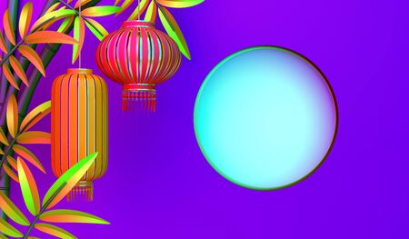 Bamboo, traditional Chinese lanterns lampion, moon and paper cut on purple pink gradient background. Design concept of chinese festival celebration mid autumn, gong xi fa cai. 3D illustration.