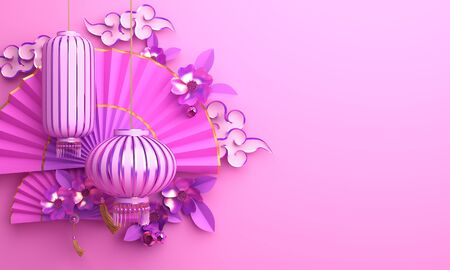 Pink and purple traditional Chinese lanterns lampion, paper cut cloud, sakura, branch, cherry blossom, paper fan. Design concept of chinese festival celebration gong xi fa cai. 3D render illustration. Stock Photo