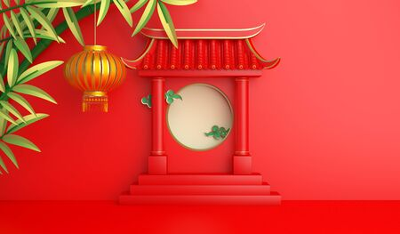 Green bamboo, traditional Chinese gate and lanterns lampion, moon paper cut cloud. Design creative concept of chinese festival celebration mid autumn, gong xi fa cai. 3D rendering illustration.