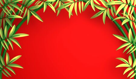 Green bamboo tree and leaf on red background. Mock up backdrop, copy space, flat lay. Design creative concept of chinese, japanese festival celebration mid autumn, gong xi fa cai. 3D illustration. Stok Fotoğraf