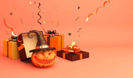 Gift box, confetti, smiling pumpkin head jack o lantern with hat on orange pastel background.