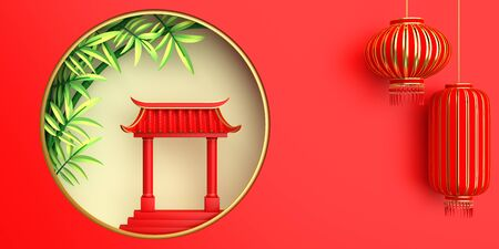 Green bamboo, traditional Chinese gate and lanterns lampion, moon paper cut. Design creative concept of chinese festival celebration mid autumn, gong xi fa cai. 3D rendering illustration.