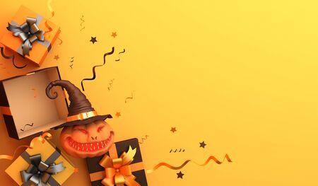 Gift box, confetti, smiling pumpkin head jack o lantern with hat on orange pastel background. Design creative concept of halloween celebration day. 3d rendering illustration.