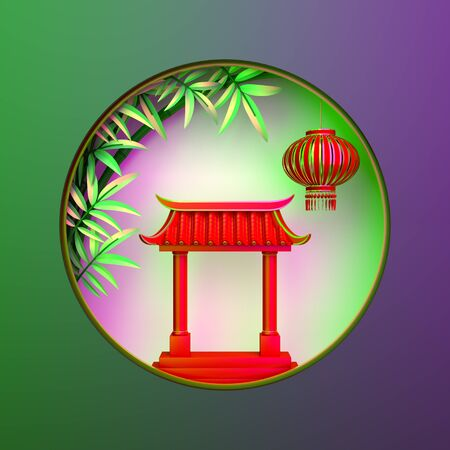 Green bamboo, traditional Chinese gate and lanterns lampion, moon paper cut on green purple gradient. Design concept of chinese festival celebration mid autumn, gong xi fa cai. 3D illustration.