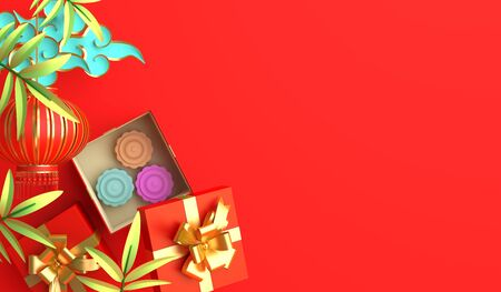 Bamboo leaves, traditional Chinese lanterns lampion, gift box, moon cake, copy space text. Design creative concept of chinese festival celebration mid autumn, gong xi fa cai. 3D illustration. Stock Photo