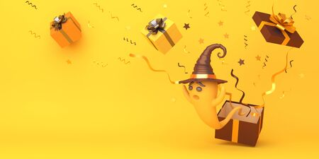 Cute cartoon ghost wearing witch hat, confetti and gift box on orange background, copy space text area. Design creative concept of happy halloween celebration holiday. 3D rendering illustration. Stok Fotoğraf
