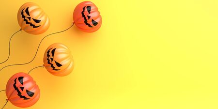 Pumpkin balloons on orange background, copy space text area. Design creative concept of happy halloween celebration holiday. 3D rendering illustration.