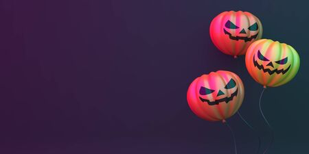 Pumpkin balloons on black green purple background, vibrant color, neon flourescent. background, copy space text area. Design creative concept of happy halloween celebration holiday. 3D illustration.
