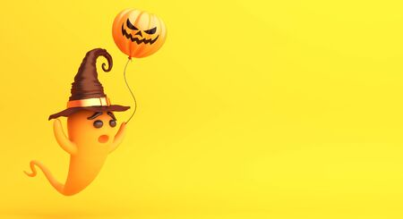 Cute cartoon ghost wearing witch hat holding pumpkin balloon on orange background, copy space text area. Design creative concept of happy halloween celebration holiday. 3D rendering illustration. Stok Fotoğraf