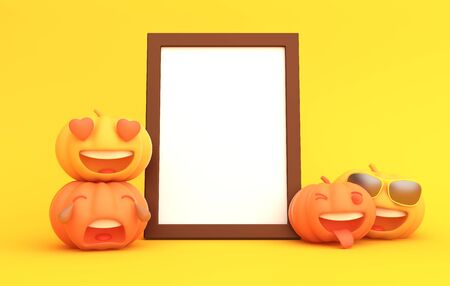 Cute cartoon pumpkin and blank white frame on orange background, copy space text area. Design creative concept of happy halloween celebration holiday. 3D rendering illustration.
