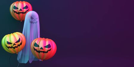 Pumpkin balloons ghost on black green purple background, vibrant color, neon flourescent background, copy space text. Design creative concept of happy halloween celebration holiday. 3D illustration. Stok Fotoğraf