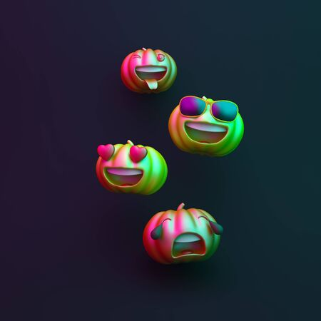 Cute cartoon pumpkin black blue purple background, vibrant color, neon flourescent. Design creative concept of happy halloween celebration holiday. 3D rendering illustration.