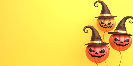 Pumpkin balloons with witchs hat on orange background, copy space text area. Design creative concept of happy halloween celebration holiday. 3D rendering illustration. Stok Fotoğraf