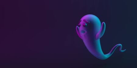 Cute ghost on black blue purple background, vibrant color, neon flourescent. copy space text area. Design creative concept of happy halloween celebration holiday. 3D rendering illustration.