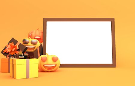 Cute cartoon pumpkin, gift box and blank white frame on orange background, copy space text area. Design creative concept of happy halloween celebration holiday. 3D rendering illustration.