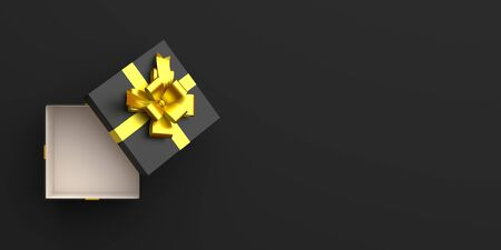 Opened gift box with gold ribbon in the studio lighting, copy space text, flat lay. Design creative concept for black friday sale event. 3D rendering illustration.